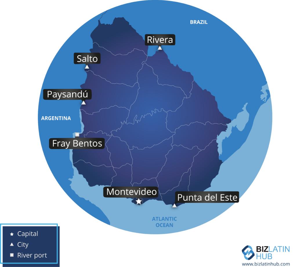 उरुग्वे का एक नक्शा, जहां आप बैक ऑफिस सेवाओं को आउटसोर्स करके अपने व्यवसाय को सुव्यवस्थित कर सकते हैं