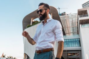 Michael Checkers Men's Fashion Blogger in downtown Miami modeling Topman menswear look