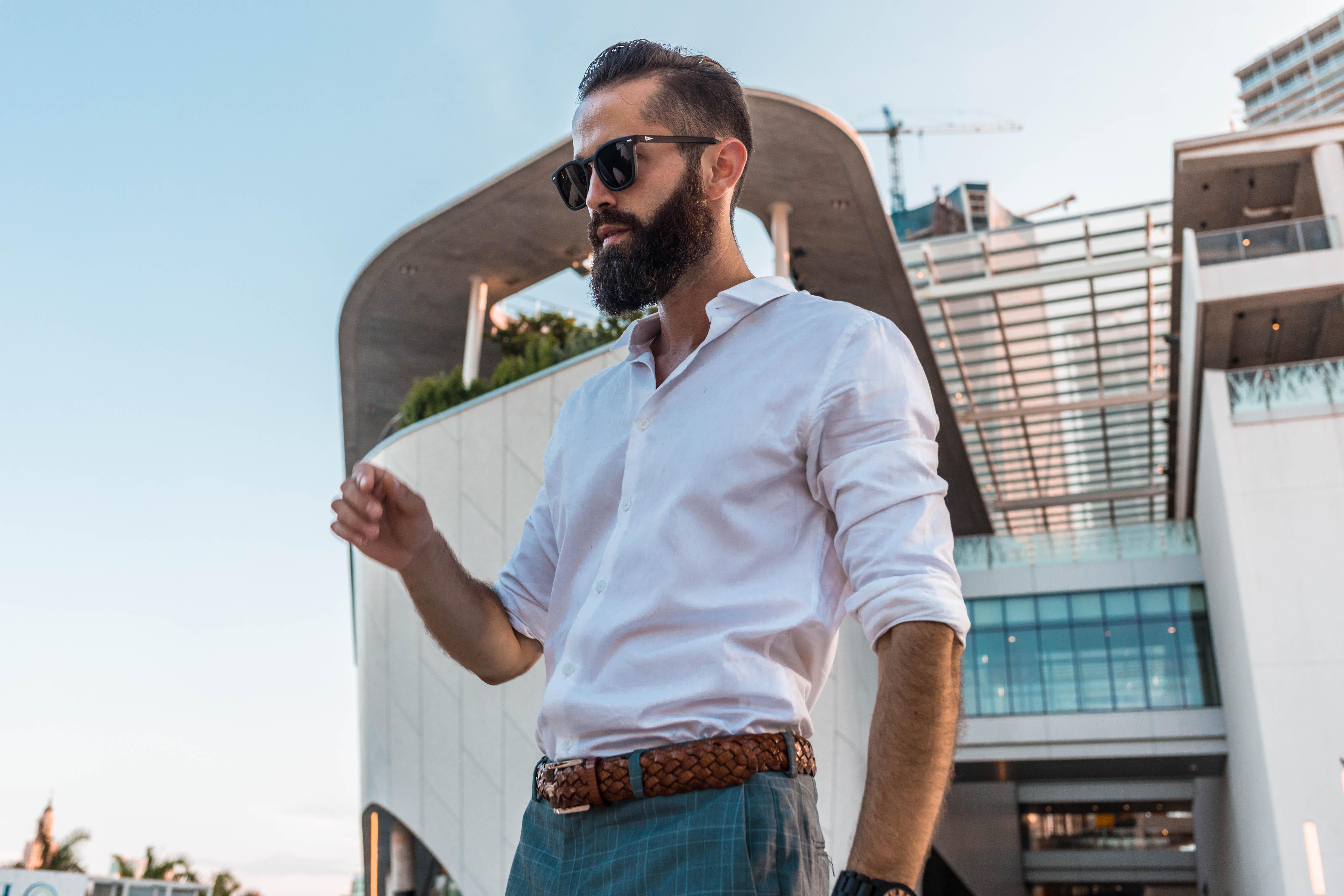 Michael Checkers Men's Fashion Blogger in downtown Miami modeling Topman menswear look