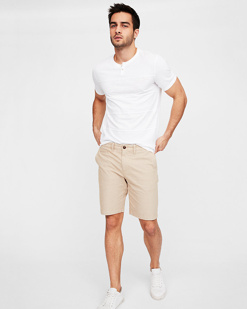 Slim 9 Inch Textured Stretch Shorts