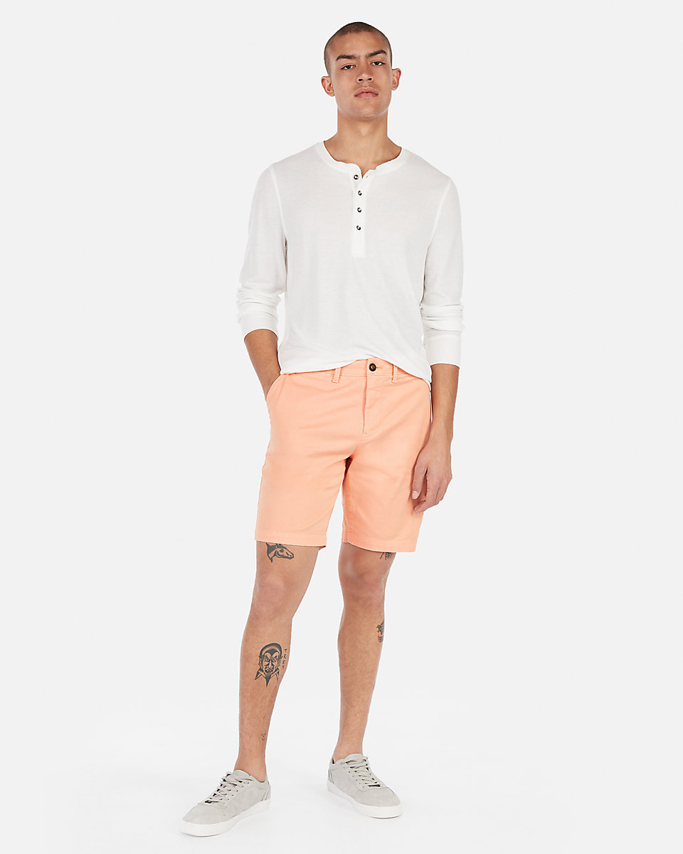 Slim 9 Inch Flat Front Hyper Stretch Shorts peach