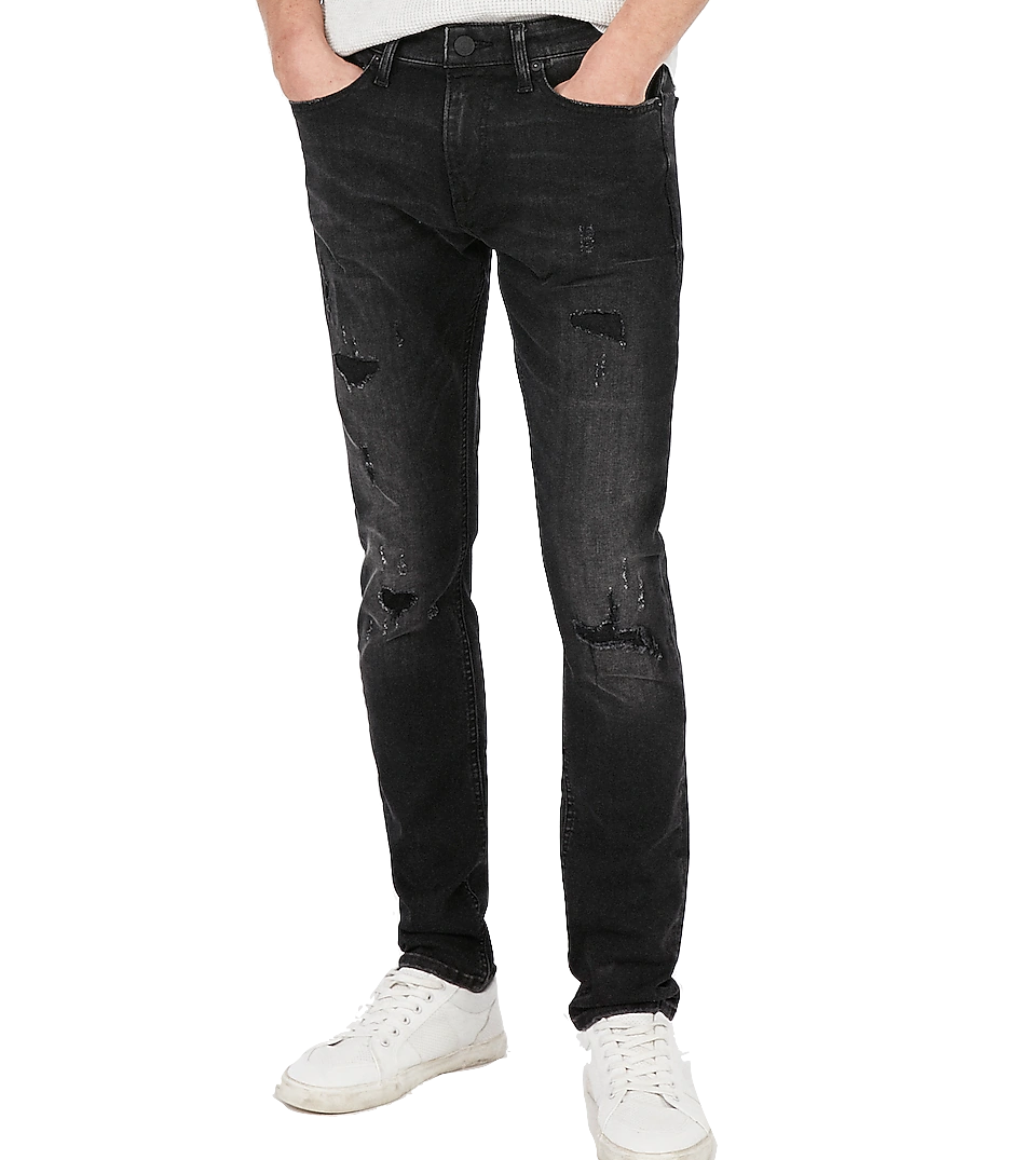 Skinny Black Hyper Ripped Stretch Jeans Express Men