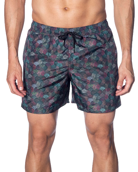 Men's Multicolor Swirl-Print Swim Shorts Jared Lang