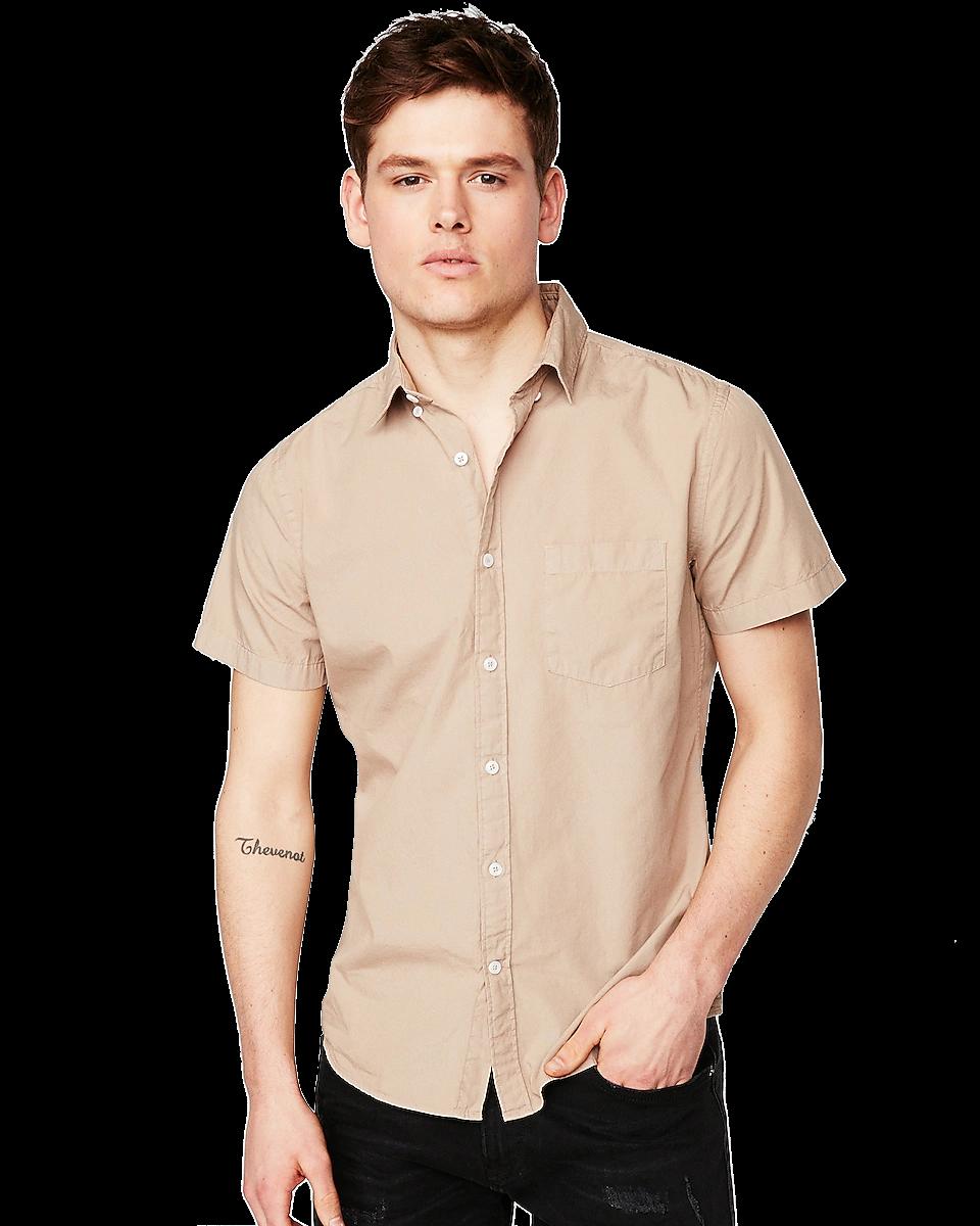Slim Garment Dyed Button-Down Short Sleeve Shirt