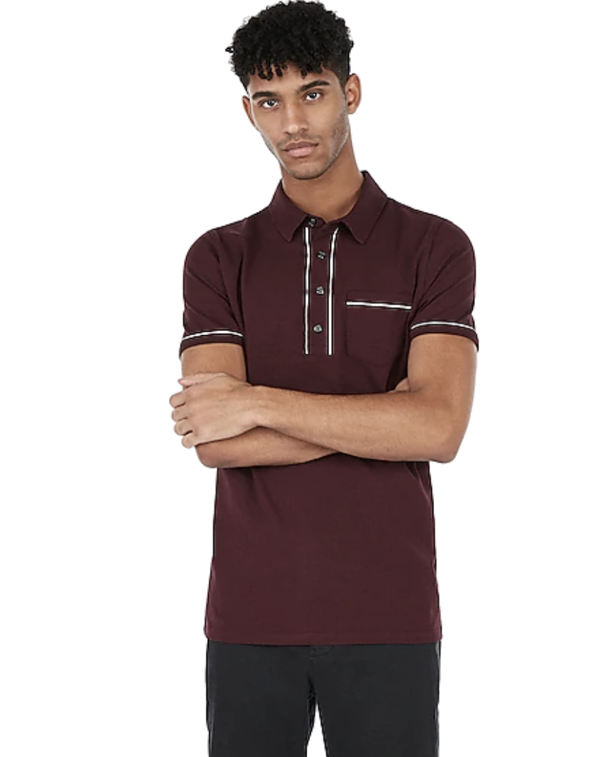 Express Piped Moisture-Wicking Performance Polo Wine