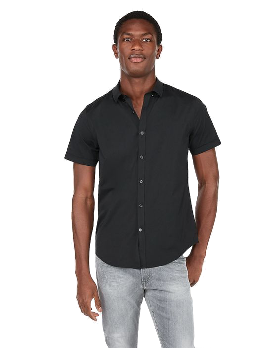 Express Slim Wrinkle-Resistant Button-Down Short Sleeve Performance Shirt Black