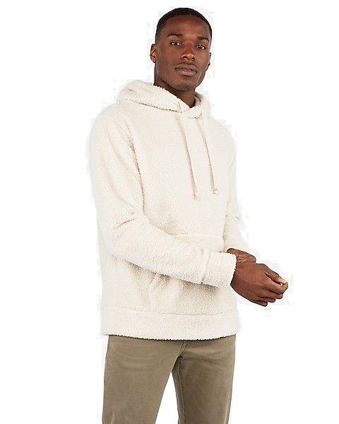 Express Drop Shoulder Sherpa Hoodie Walnut Color