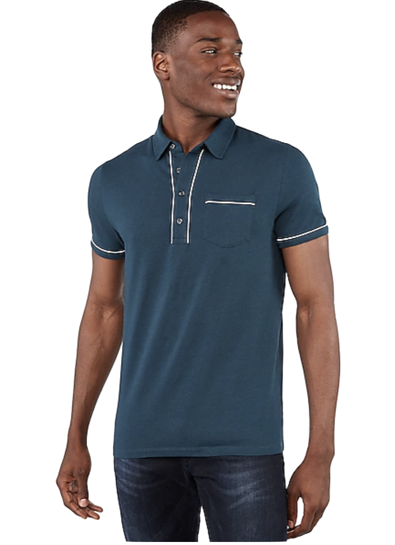 Express Piped Moisture-Wicking Performance Polo Teal
