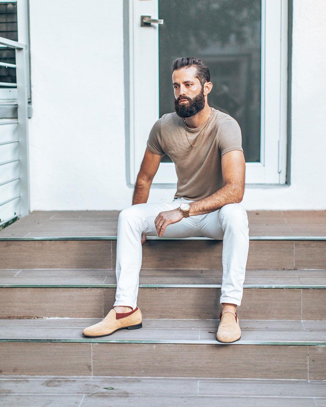 Michael Checkers Miami sitting model poses