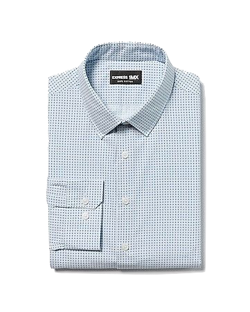 express printed dress shirt blue