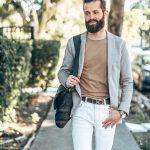 michael checkers miami beach street style photo white pants and light khaki jacket