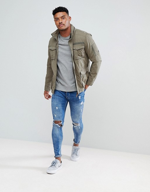 Blend Military Jacket in Khaki, Asos