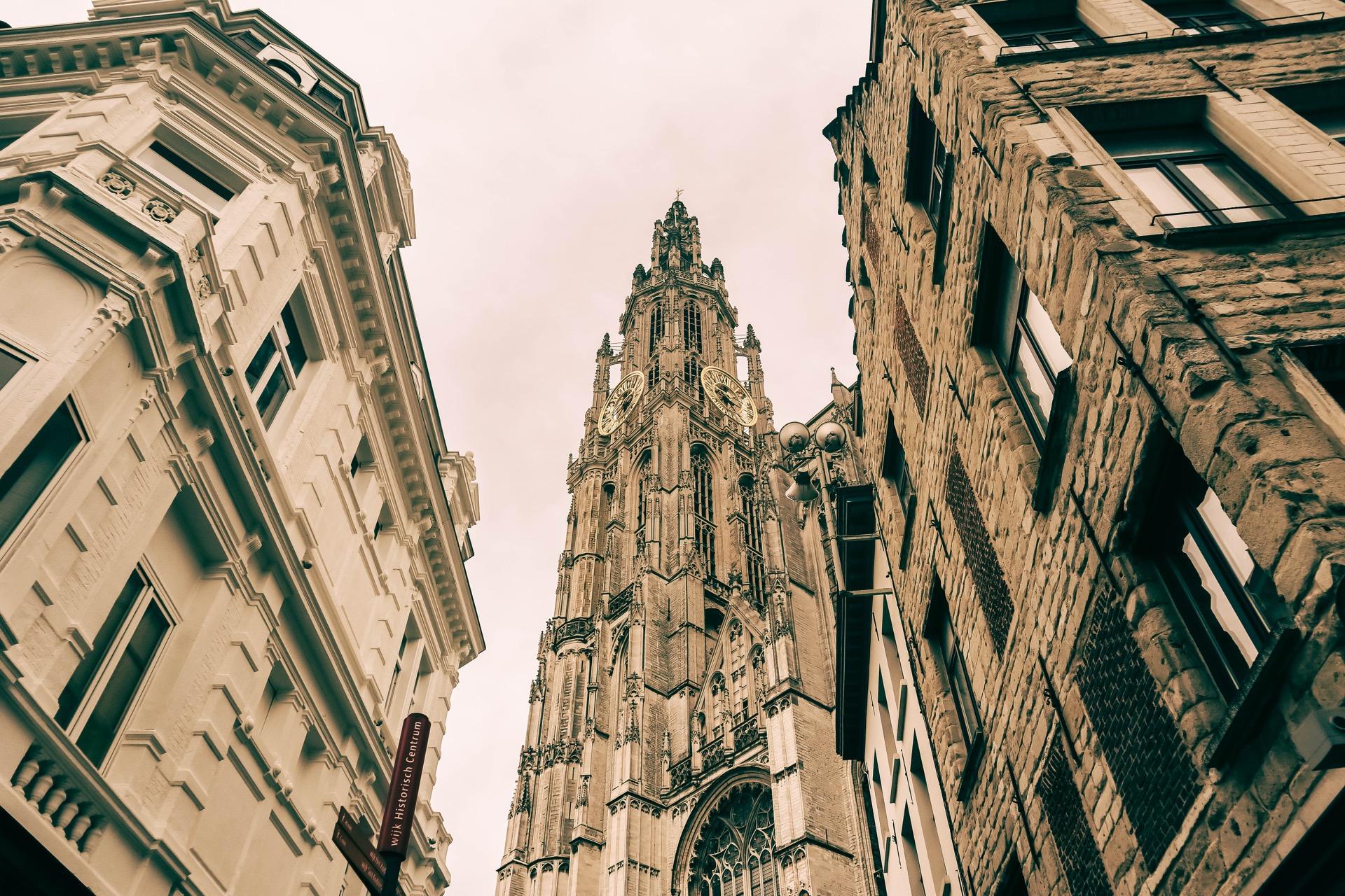 View of Onze-Lieve-Vrouwekathedraal Antwerp from the street