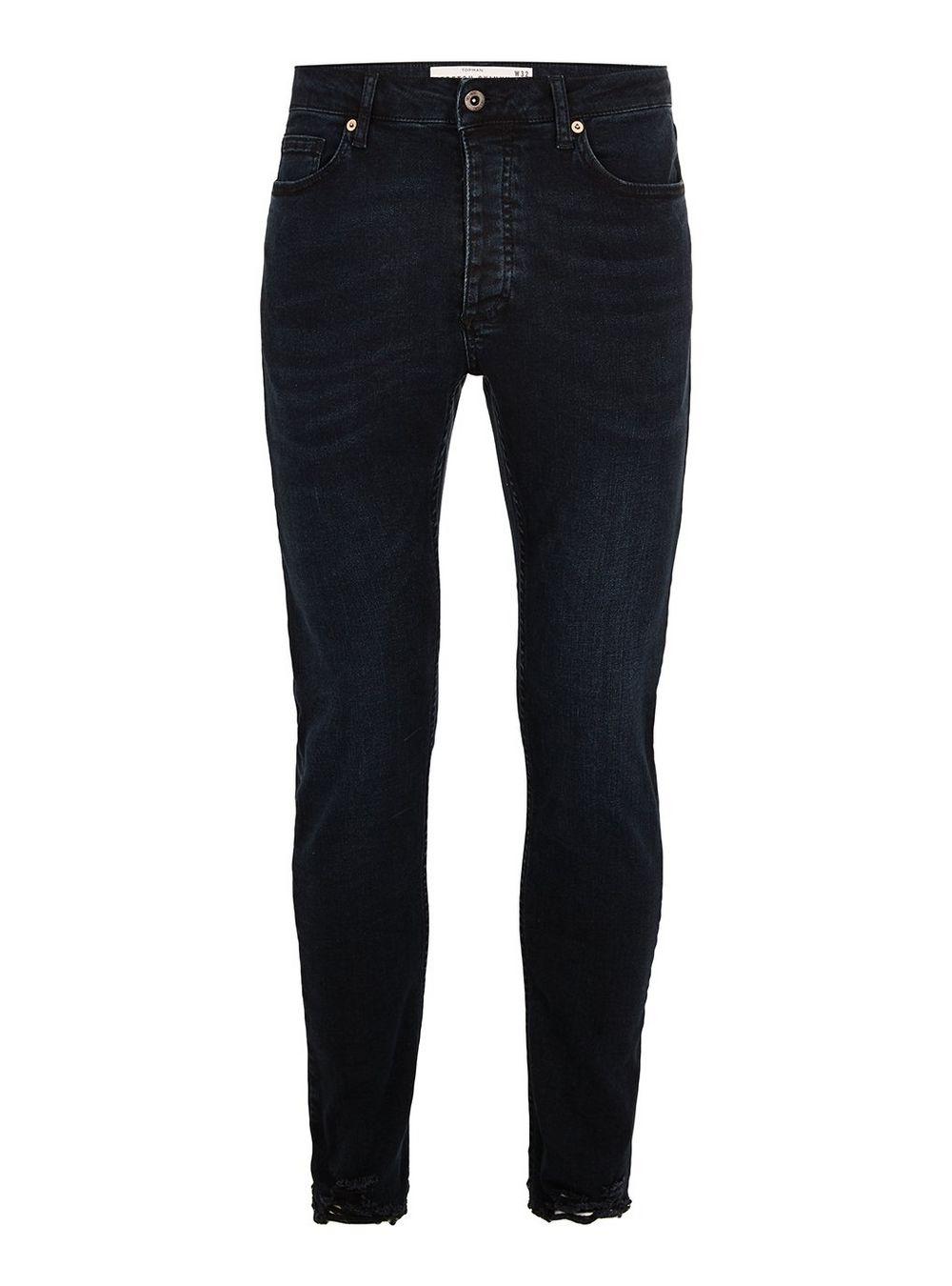 Washed Black Raw Hem Stretch Skinny Jeans