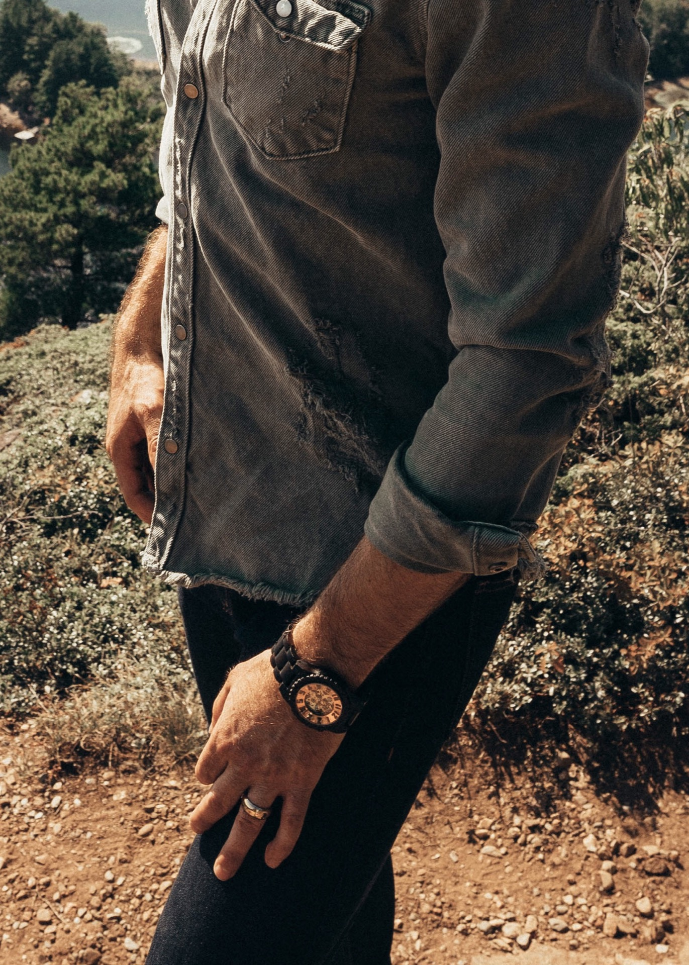 Minimal Wooden Watch modeled by Michael Checkers, men's style blogger, as part of Men's Style Trends Guide Fall 2018