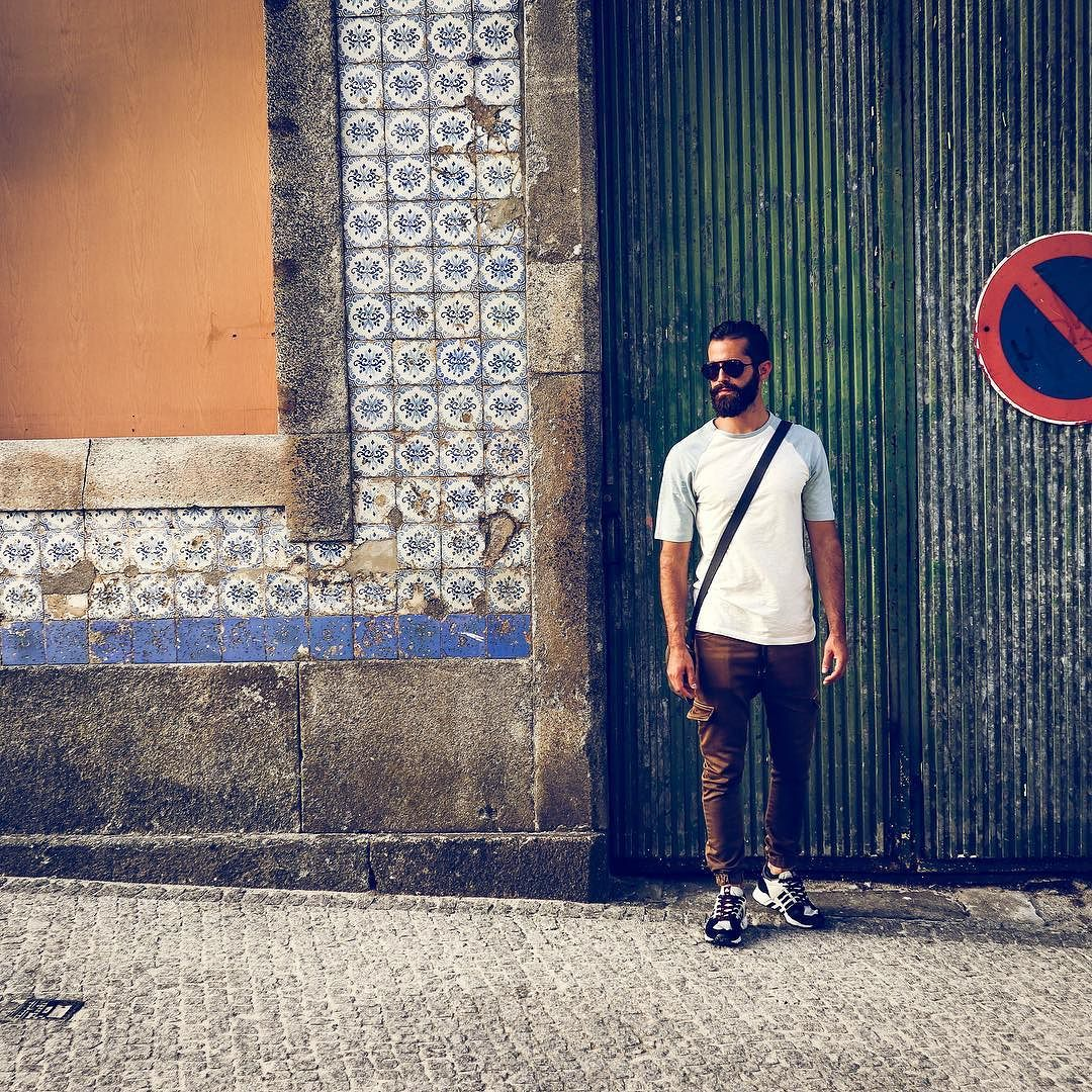 Michael Checkers (aka MikeCheck) in Viana do Castelo, Portugal on cobble stone streets
