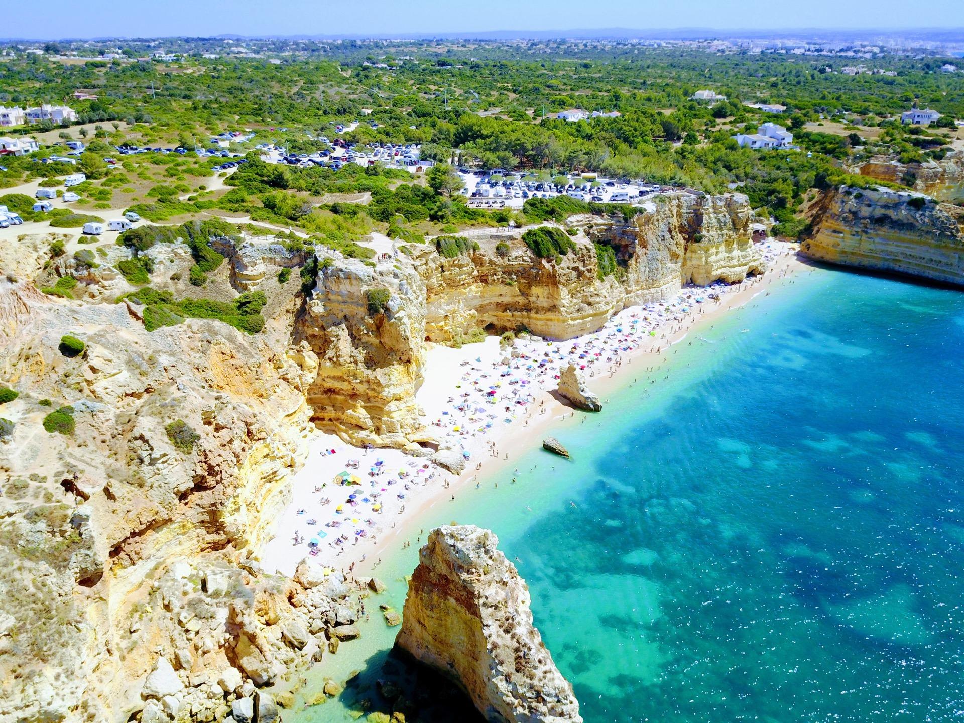 Looking down at Praia Marina, Algarve, Portugal