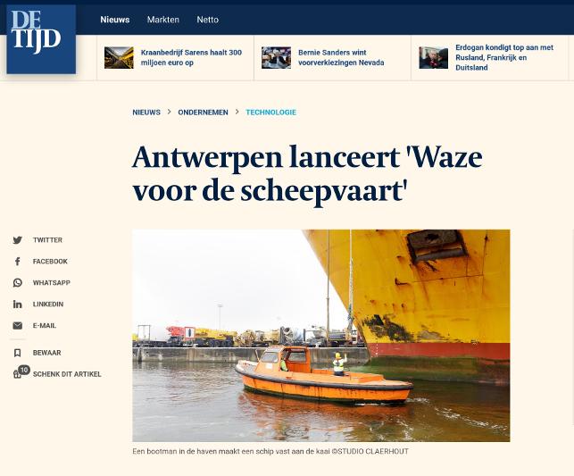 De Tijd: Antwerpen lanceert Waze voor de scheepvaart