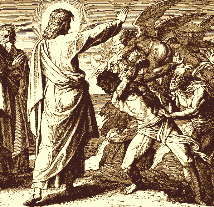 Jesus frees a man possessed by demons
