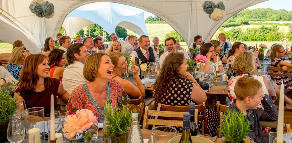 Capri Marquee wedding reception on the meadow at Monkton Barn Marlow