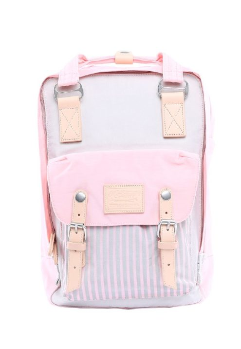 Stylish Laptop Backpack - Buttercup PINSTRIPE TEA PINK & JUNGLE | Himawari Asia
