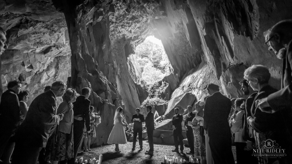 Bride and Groom in a cave.