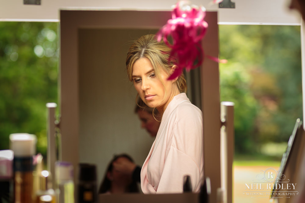 Bartle Hall Wedding Photographer Bridesmaid reflection in large mirror