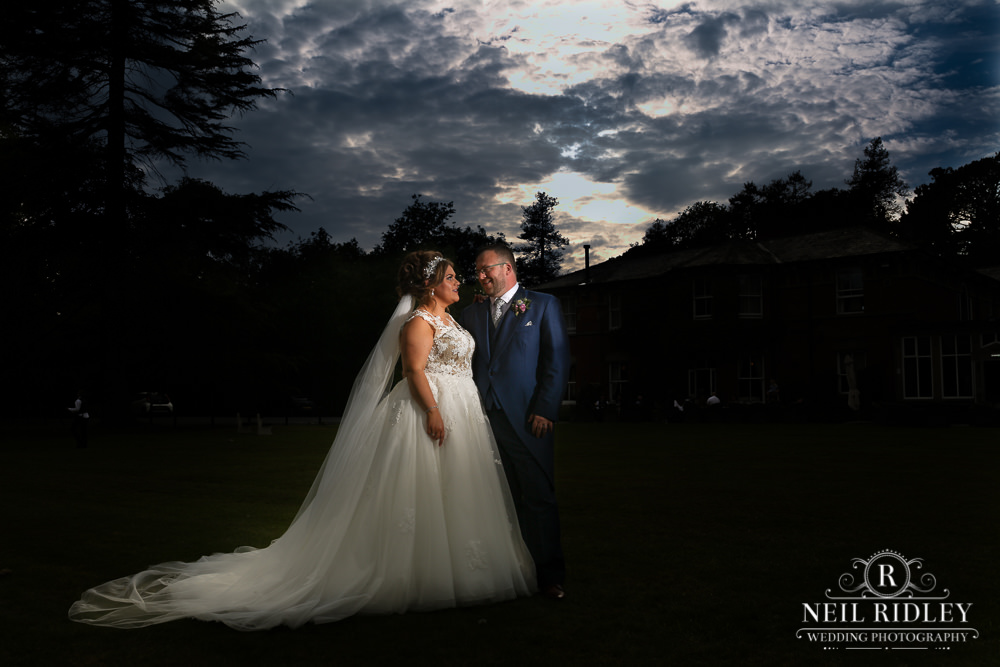Bartle Hall Wedding Photographer Dramatic Portrait of the Brideand Groom