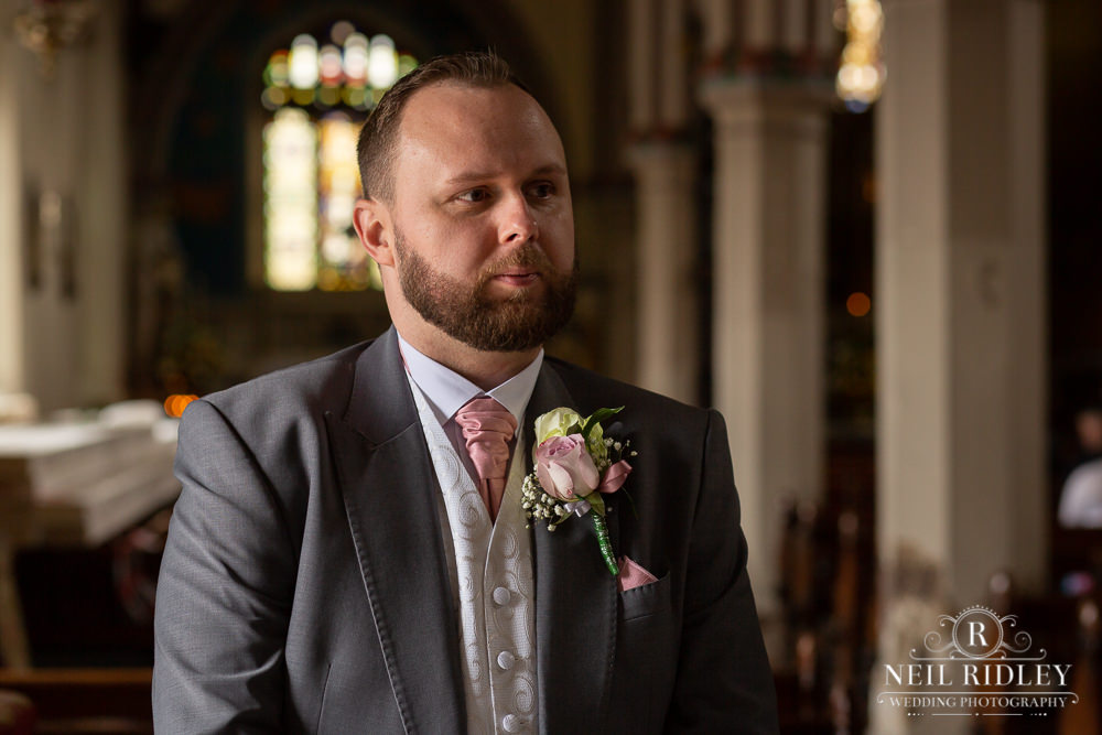 Manchester Wedding Photographer  Groom waiting in church