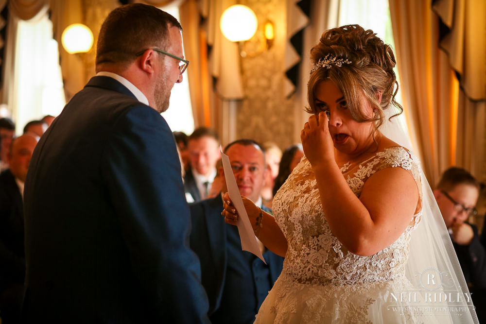 Bartle Hall Wedding Photographer Bride wipes tears from eyes