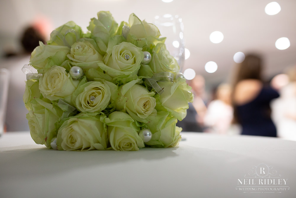 Manchester Wedding Photographer  Bouquet on table