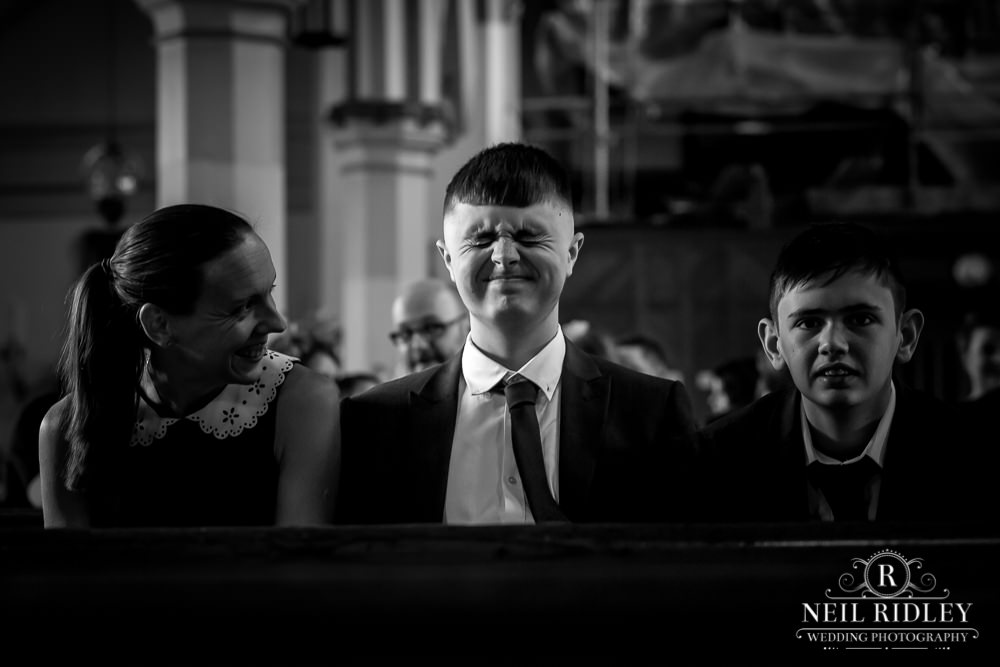 Manchester Wedding Photographer  guest screwing his face up