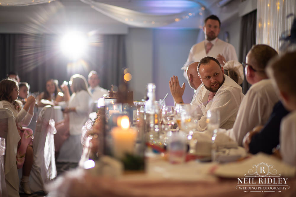 The Villa Hotel Wedding Photographer Top Table Guests