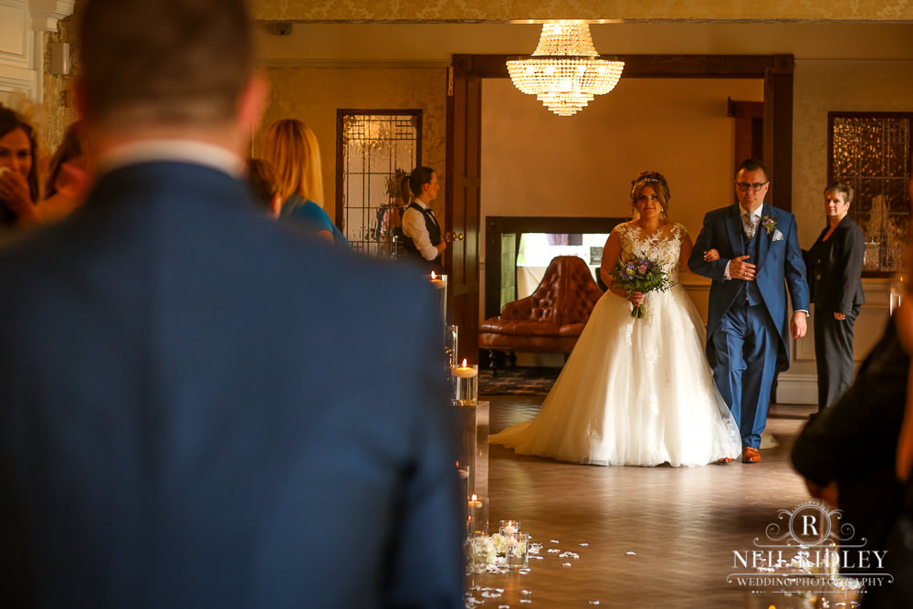 Bartle Hall Wedding Photographer Bride walking down the aisle