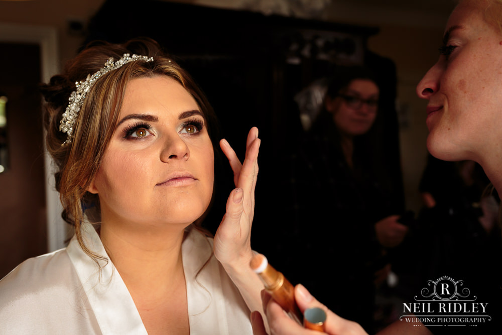 Bartle Hall Wedding Photographer Bridal Makeup Final Touches