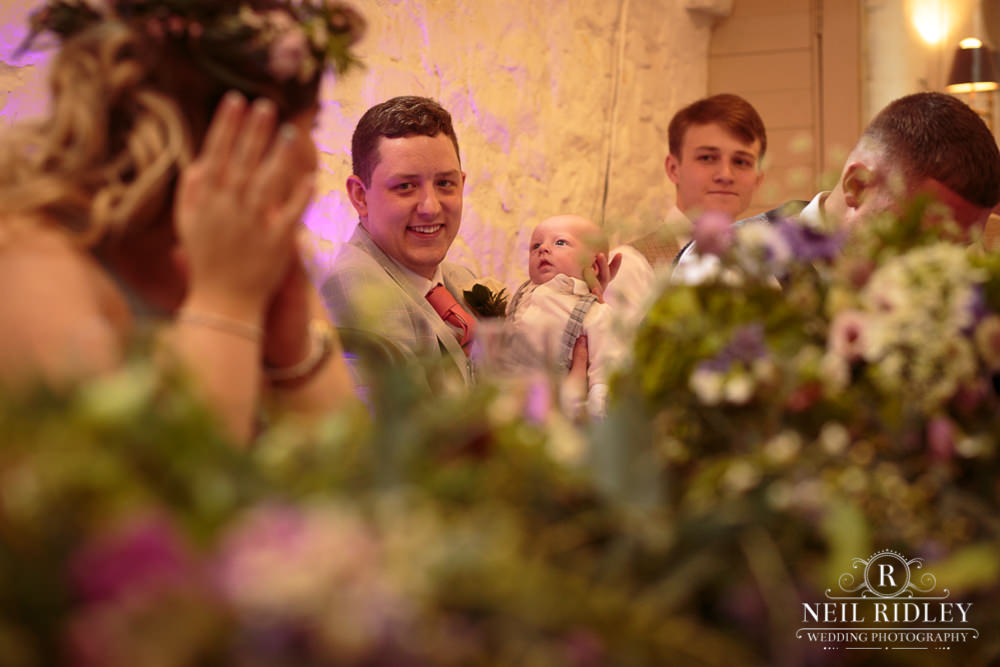 Wyresdale Park Wedding - Wedding Guests watching Speeches