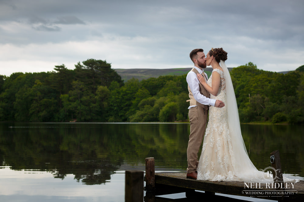 Wyresdale Park Wedding - Bride and Groom by the lake
