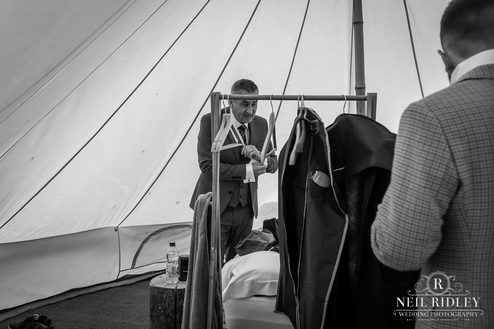 Wyresdale Park Wedding - Groom Prep in the bell tent