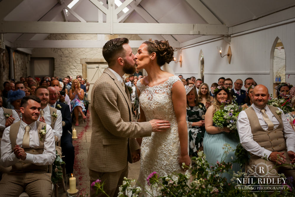 Wyresdale Park Wedding - First kiss