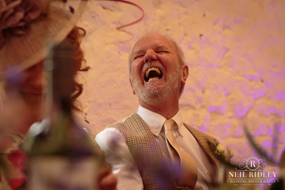 Wyresdale Park Wedding - Guest Laughing
