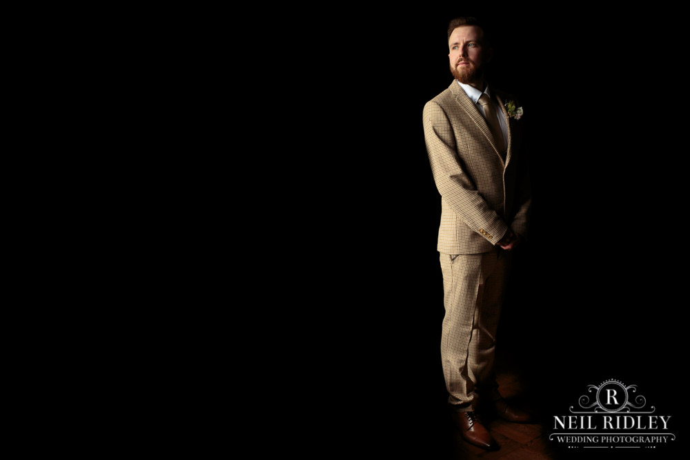 Wyresdale Park Wedding - Groom Portrait in the house