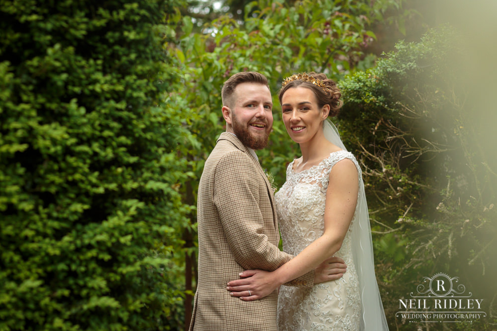 Wyresdale Park Wedding - Bride and Groom portrait in the garden