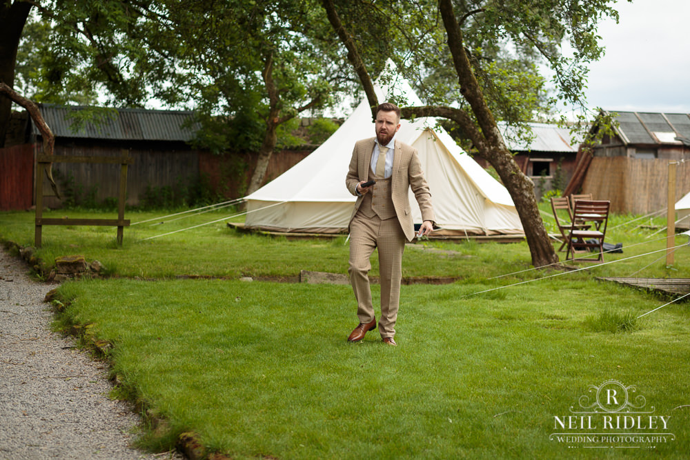 Wyresdale Park Wedding - Groom leaving the tent