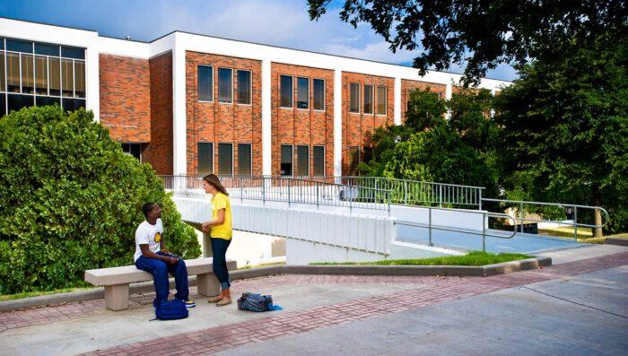 students outside BA building