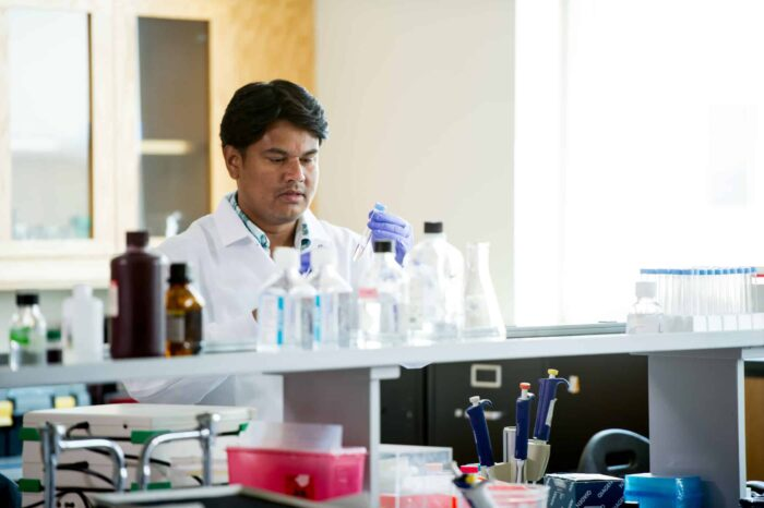 Biological science researcher inspecting test tube