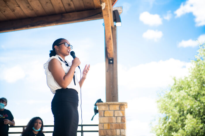 Student during public speech.