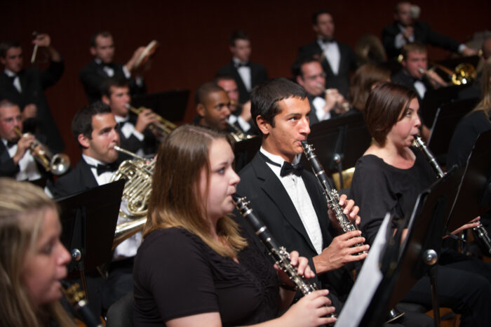 Music majors playing together in a symphony