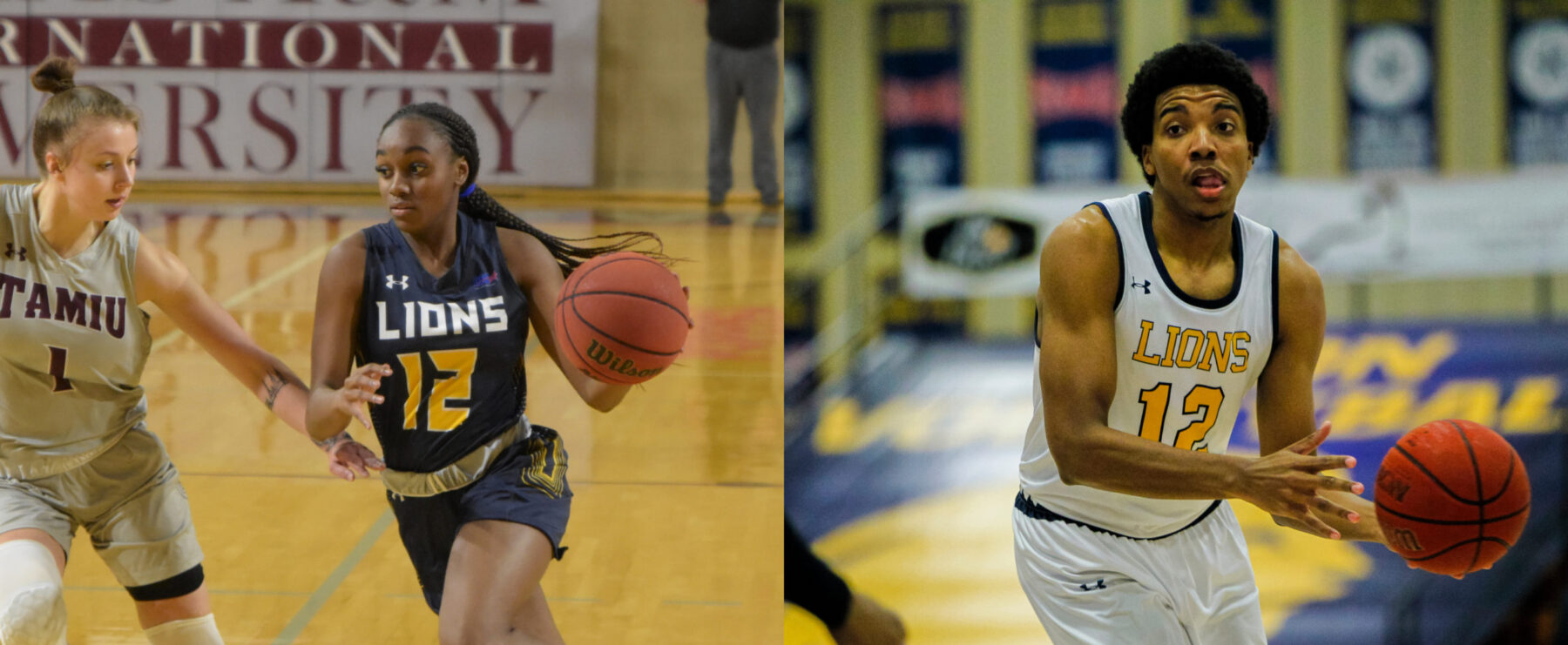 Two images, one is a male dribbling a basket ball. The other is a female dribbling a basket ball.