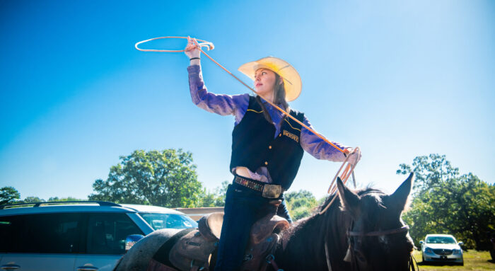 Savanna Waller with the A&M-Commerce Rodeo team practicing roping.