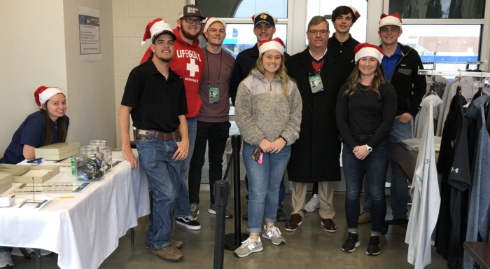 Students worked the booths at the NCAA Division II Football National Championship game in December.